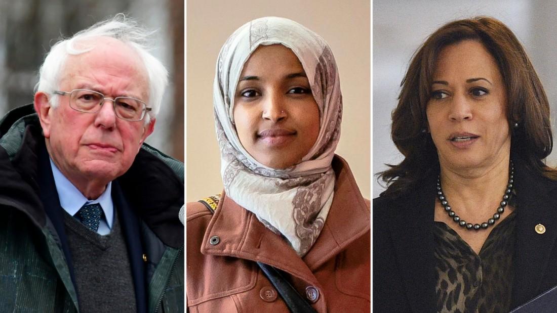 Bernie Sanders, Ilhan Omar  and Kamala Harris