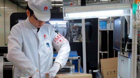 A production line for Huawei phones in southern China.