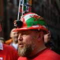 Wals rugby fans hard hats