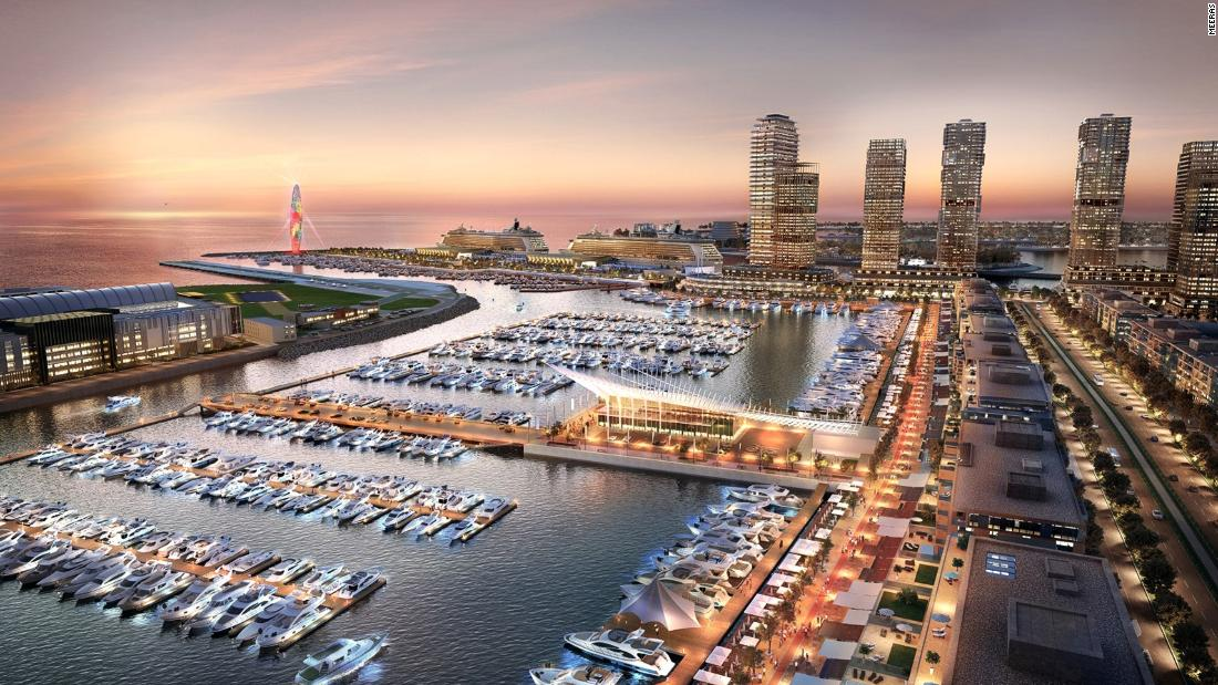 The marina will feature views of the Palm Jumeirah, as well as shops, restaurants, luxury residences, hotels and Dubai Lighthouse, a 150-meter-high feature landmark building, say its developers.