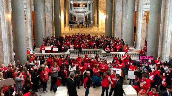 Hundreds of teachers fill the Kentucky Capitol on March 7.