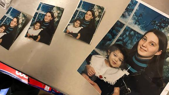 These photos of Angelita Hitchcock and her daughter Aryana, who's now 18, were posted on Facebook after someone turned them in at an Opelika, Alabama, church. Hitchcock's home was destroyed in Sunday's tornado.