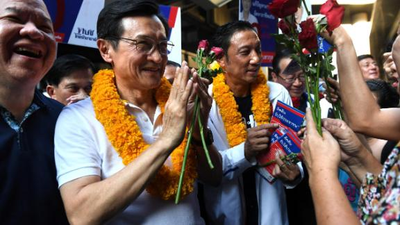 Thai politician Chaturon Chaisang of Thai Raksa Chart Party campaign with local candidates in Bangkok on February 20, 2019.