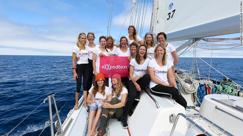 The eXXpedition crew are seen on a sailing boat in the North Pacific Ocean.