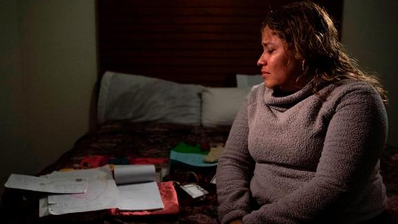 Salvadoran Luisa Hidalgo, 31, sits in a Tijuana hotel in February waiting to ask for asylum to be reunited with her 14-year-old daughter.