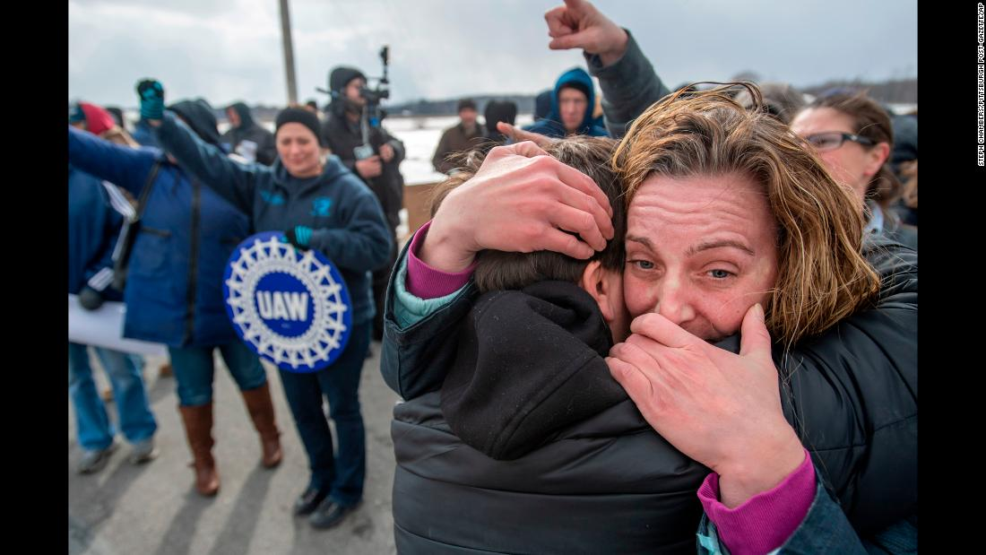 "Amy Drennen, right, receives a hug from Pam Clark as people gather in front of a General Motors assembly plant in Lordstown, Ohio, on Wednesday, March 6. <a href=""https://www.cnn.com/2019/03/06/economy/gm-lordstown-workers/index.html"" target=""_blank"">The plant was closing down,</a> leaving hundreds without a job."