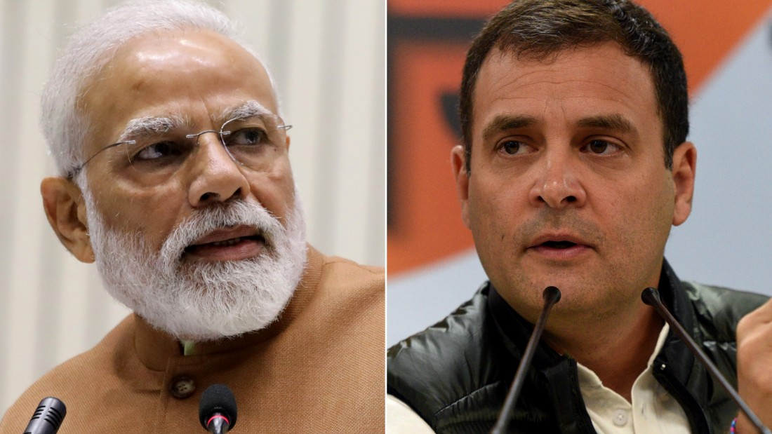 India's Prime Minister Narendra Modi (left) has more than 42 million Twitter followers. Main opposition leader Rahul Gandhi (right) has already built up a following of nearly 9 million since joining the platform in 2015.