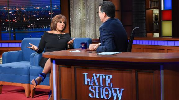 The Late Show with Stephen Colbert and guest  Gayle King during Thursday\'s March 7, 2019 show. Photo: Scott Kowalchyk/CBS é2019 CBS Broadcasting Inc. All Rights Reserved.