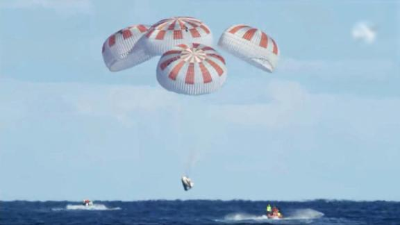 March 8, 2019 - SpaceX's Crew Dragon vehicle splash lands in the Atlantic Ocean after a successful return from the International Space Station.