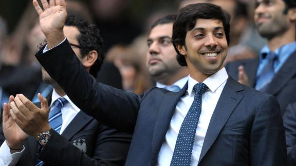 Manchester city owner Sheikh Mansour bin Zayed Al Nahyan looks on during his club's match against Liverpool in 2010.