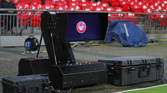 LONDON, ENGLAND - FEBRUARY 13: The VAR monitor is seen pitchside before the UEFA Champions League Round of 16 First Leg match between Tottenham Hotspur and Borussia Dortmund at Wembley Stadium on February 13, 2019 in London, England. (Photo by Catherine Ivill/Getty Images)