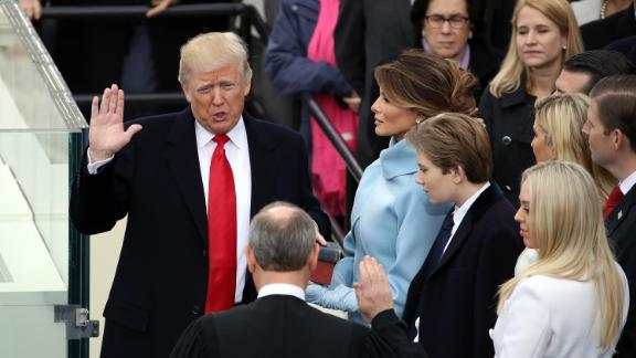 Roberts administers the oath of office to President Donald Trump in 2017.