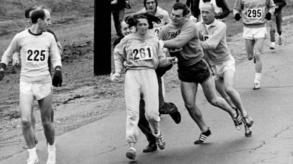 Kathrine Switzer was spotted early in the Boston Marathon by a man who tried to rip the number off her shirt and remove her from the race.