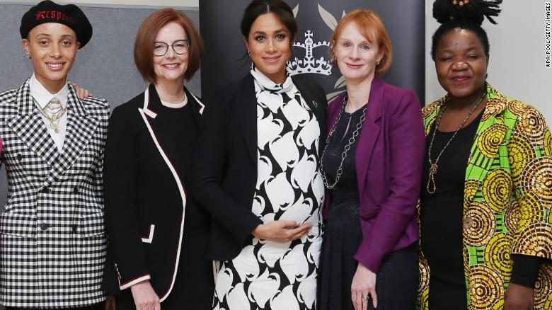 Meghan was joined on the panel Friday by British model Adwoa Aboah, former Australian Prime Minister Julia Gillard, journalist Anne McElvoy and Camfed Regional Director Zimbabwe's Angeline Murimirwa.