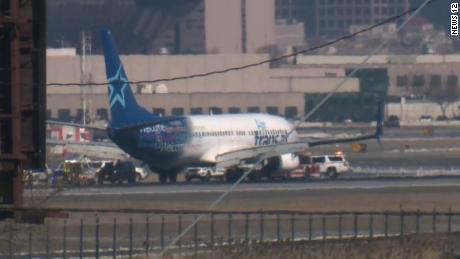 The Transat plane landed at Newark airport.