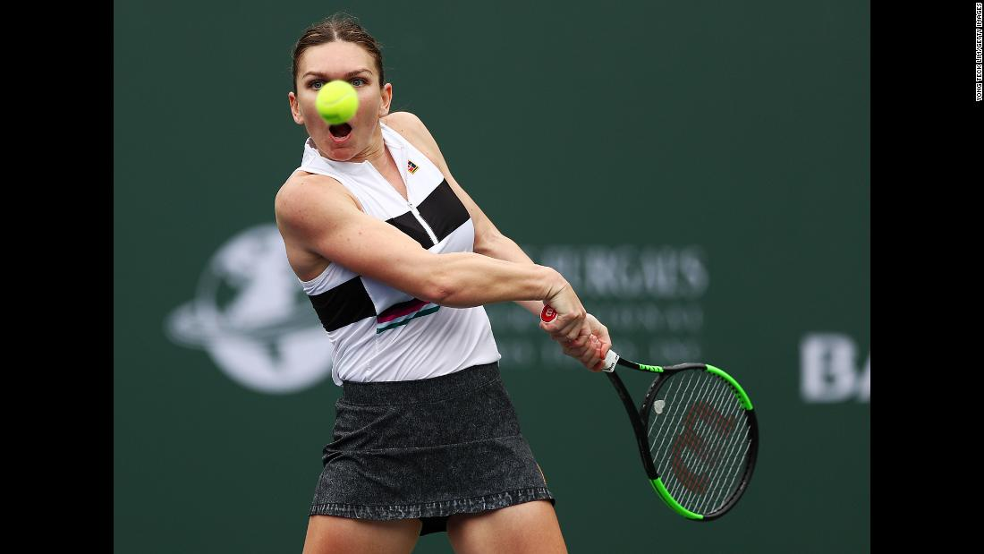 Simona Halep plays a forehand against Kateryna Kozlova during their women's singles third round match of the BNP Paribas Open at the Indian Wells Tennis Garden on March 10, in Indian Wells, California. Halep defeated Kozlova in straight sets to advance to the round of 16.