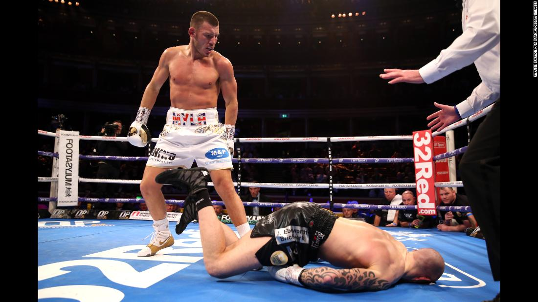 Liam Williams knocks down Joe Mullender during the British Middleweight Championship at the Royal Albert Hall, London on Friday, March 8. Williams defeated Mullender in two rounds.