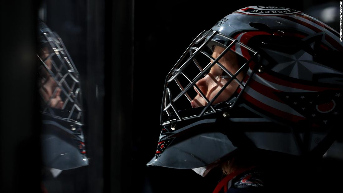 A young fan watches warmups prior to an NHL game between the Winnipeg Jets and the Columbus Blue Jackets at Nationwide Arena on Sunday, March 3.