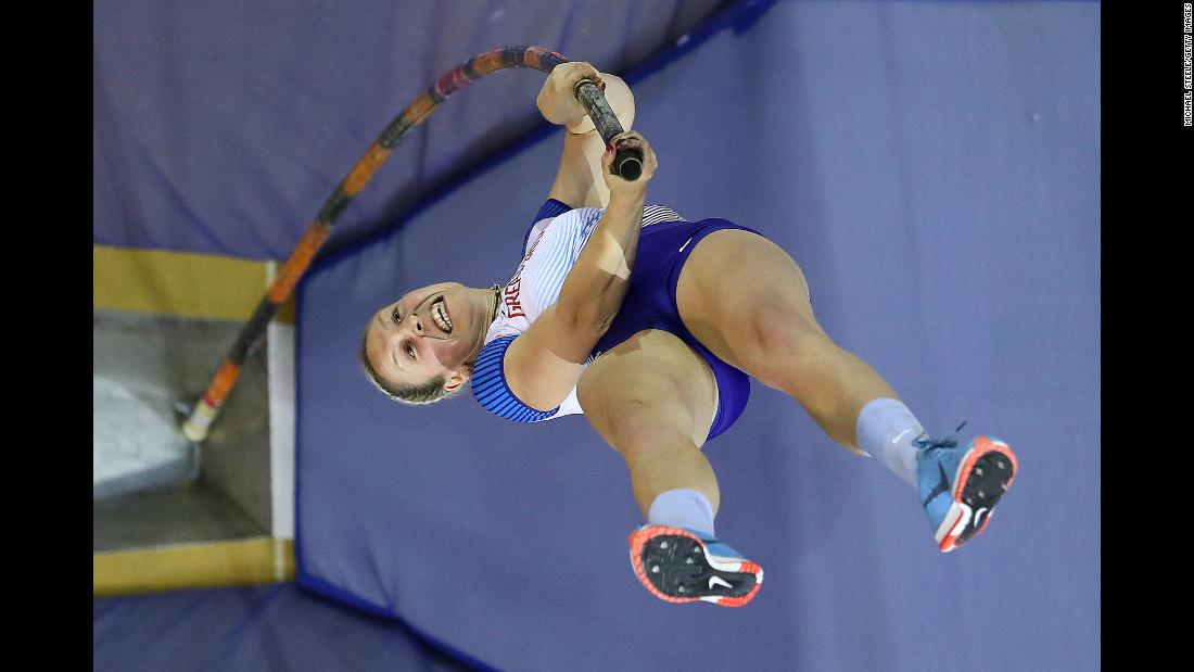 Holly Bradshaw of Great Britain competes in the women's pole vault final of the European Athletics Indoor Championships on Sunday, March 3 in Glasgow, Scotland.