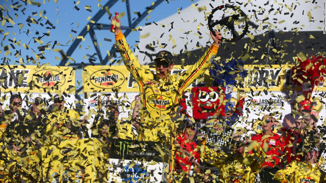 Joey Logano celebrates in Victory Lane after winning the Monster Energy NASCAR Cup Series Pennzoil Oil 400 at Las Vegas Motor Speedway on March 3.