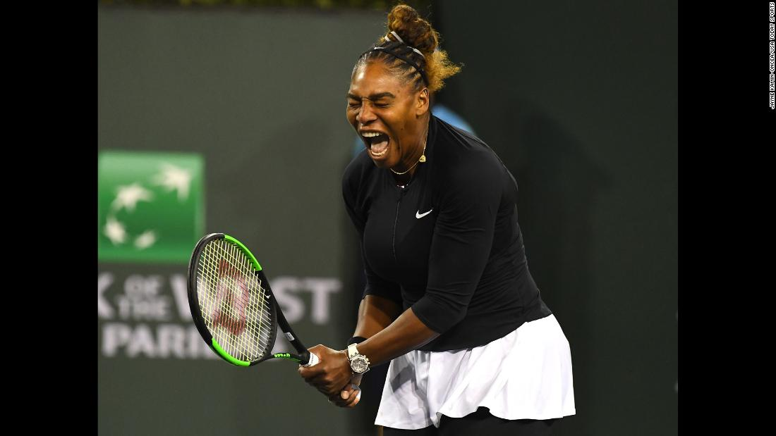 Serena Williams screams after winning a point against Victoria Azarenka during their second round match in the BNP Paribas Open at the Indian Wells Tennis Garden on Friday, March 8.