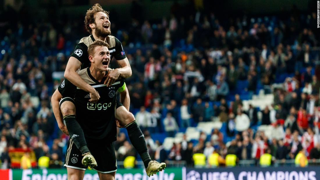 Lasse Schone and Matthijs De Ligt of Ajax celebrate during their UEFA Champions League round-of-16 second-leg match against Real Madrid on March 5 in Madrid, Spain. In a major upset, Ajax defeated the three-time defending Champions League winner Real Madrid by a score of 4-1.
