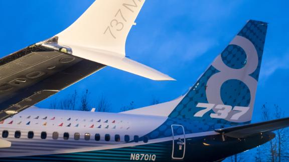 RENTON, WA - DECEMBER 8: A winglet on the first Boeing 737 MAX  airliner is pictured at the company