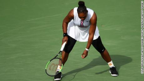 Serena Williams during her third-round match with Garbine Muguruza at Indian Wells.