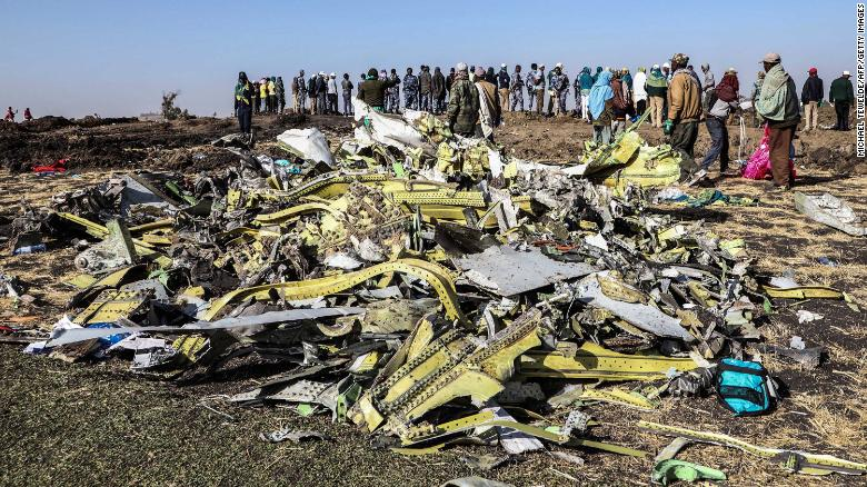 Debris at the crash site of Ethiopian Airlines Flight 302