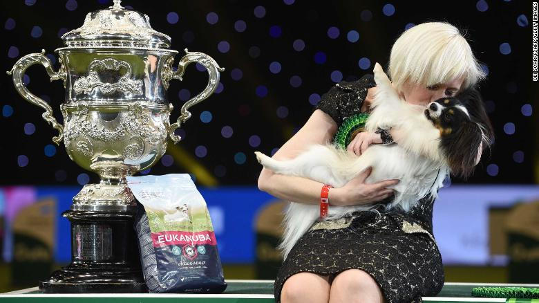 Dylan, seen here with owner Kathleen Roosens and the Best in Show trophy