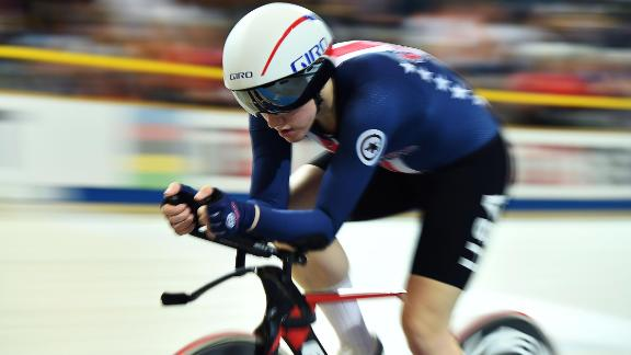 US Kelly Catlin competes  in the women's individual pursuit bronze medal race during the UCI Track Cycling World Championships in Apeldoorn on March 3, 2018.  / AFP PHOTO / EMMANUEL DUNAND        (Photo credit should read EMMANUEL DUNAND/AFP/Getty Images)