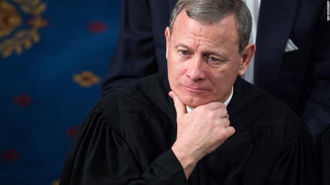 Supreme Court Chief Justice John Roberts listens to President Donald Trump's State of the Union address in January 2018.