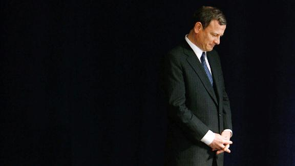 In this April 11, 2008, file photo, Chief Justice John Roberts prepares to take the stage to address the dedication ceremony during the grand opening of the Newseum in Washington.