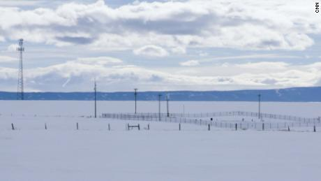 A Triangle Communication cell phone tower in rural Montana, less than half a mile from a fenced-in  ICBM silo
