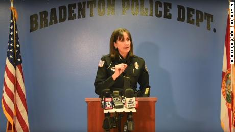 Bradenton Police Chief Melanie Bevan at a news conference.
