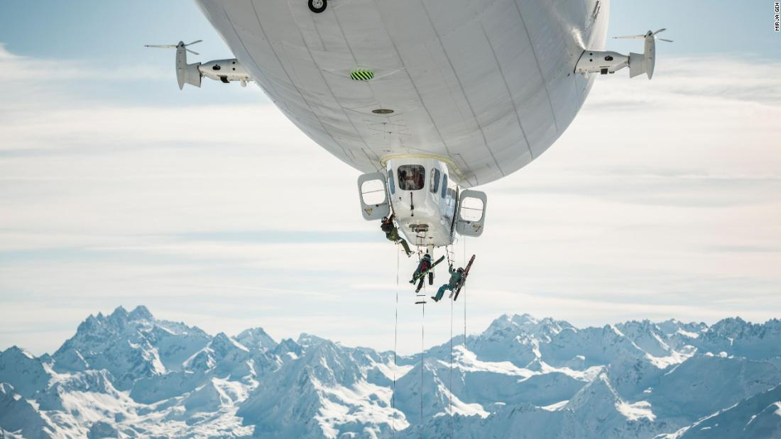 Skiers Stefan Ager, Andreas Gumpenberger and Fabian Lentsch came up with the idea of using a Zeppelin to fly them to the summit of the 7,326-feet Kleiner Valkastiel mountain in Austria.