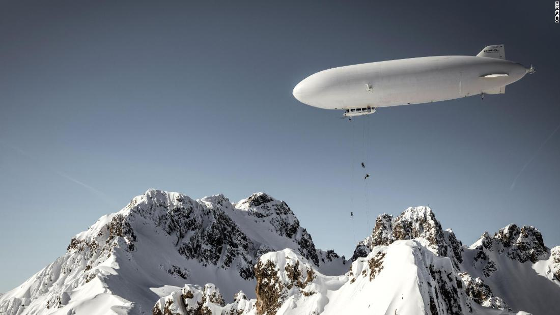 Who needs a ski lift when you can use a Zeppelin?