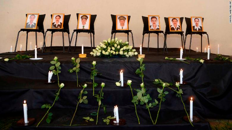 Photographs of the seven deceased crew members on display in Addis Ababa.