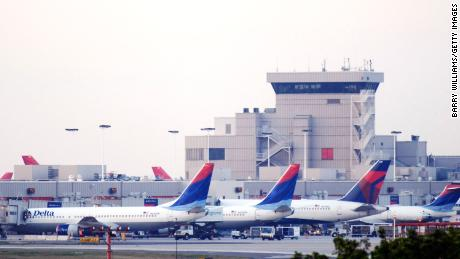 Delta Air Lines Inc. planes line up at Atlanta's Hartsfield-Jackson International Airport April 15, 2008 in Atlanta, Georgia. Delta Air Lines Inc. and Northwest Air Lines Corp.'s board of directors approved the merger between the two air lines.