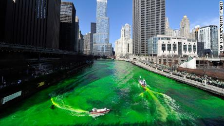 Dyeing the Chicago River green for St. Patrick's Day on March 17, 2012 in Chicago, Illinois.