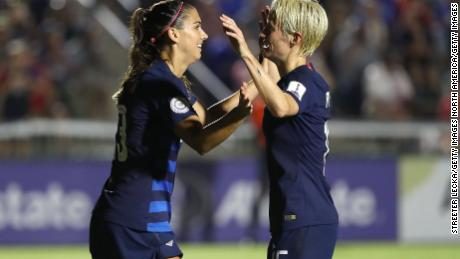Alex Morgan (left) and Megan Rapinoe are two of the members who filled a lawsuit against US Soccer in March.