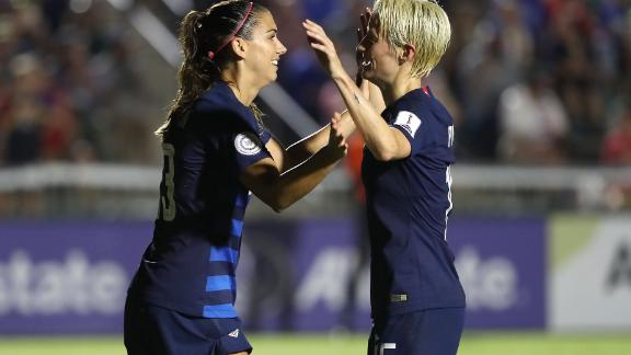 CARY, NC - OCTOBER 04:  Alex Morgan #13 and Megan Rapinoe #15 of USA celebrate after a goal against Mexico during the Group A - CONCACAF Women's Championship at WakeMed Soccer Park on October 4, 2018 in Cary, North Carolina.  (Photo by Streeter Lecka/Getty Images)