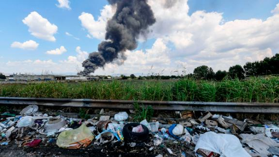 A toxic fire burns at a waste recycling factory in Italy.
