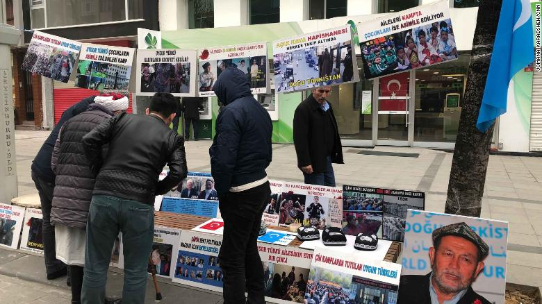 A Uyghur stand in Istanbul pays tribute to disappeared people, believed to be detained in Chinese concentration camps in western China.