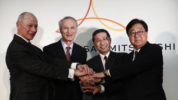 From left to right, Renault CEO Thierry Bollore, Renault Chairman Jean-Dominique Senard, Nissan CEO Hiroto Saikawa and Mitsubishi Motors CEO Osamu Masuko at Nissan