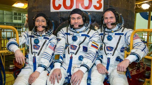 Expedition 59 crew members Christina Koch of NASA, Alexey Ovchinin of Roscosmos and Nick Hague of NASA.