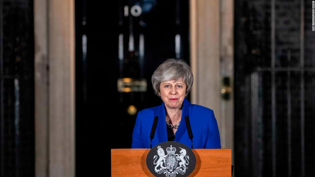 "May addresses the media after her government <a href=""https://www.cnn.com/2019/01/16/uk/theresa-may-no-confidence-vote-brexit-intl-gbr/index.html"" target=""_blank"">defeated a no-confidence vote </a>in the House of Commons in January 2019. Lawmakers voted 325-306 in favor of the government remaining in power, one day after they rejected May's Brexit deal by 230 votes. That Brexit vote was the biggest defeat for any UK government in the modern parliamentary era."