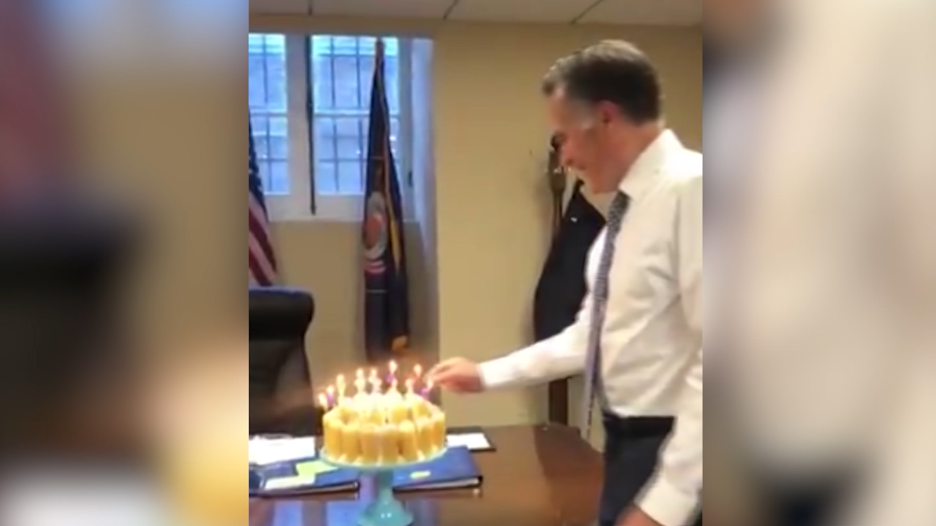 Miraculous Video Of Romney Blowing Out Candles Lights Up Internet Cnn Video Funny Birthday Cards Online Unhofree Goldxyz