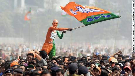 PATNA, INDIA - MARCH 3: Bharatiya Janata Party (BJP) supporters seen during Sankalp Rally at Gandhi Maidan on March 3, 2019 in Patna, India. Modi, while sounding the poll bugle for the Lok Sabha elections in Bihar, also paid tribute to the CRPF men killed in Pulwama and said the nation stands with its jawans. The rally comes exactly a month after the Congress held the first-of-its-kind Jan Akanksha Rally at the same venue. The public meeting holds significance because Modi and Kumar are sharing the stage for the first time after 2010.  (Photo by Parwaz Khan/Hindustan Times via Getty Images)