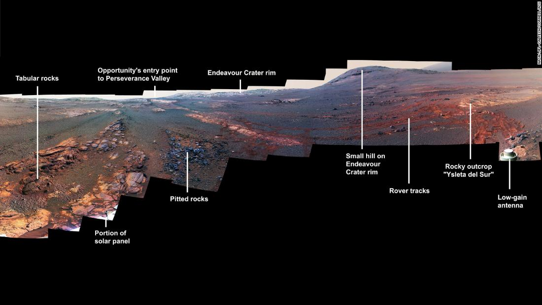 This image is a cropped version of the last 360-degree panorama taken by the Opportunity rover's panoramic camera from May 13 through June 10, 2018. The view is presented in false color to make some differences between materials easier to see.